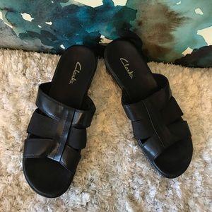 Clarks black slip on sandals size 10